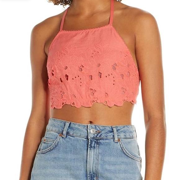 Free People Small June High Neck Bralette Coral